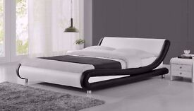 New 'Chicago' Black & White Faux leather designer bed frame 4FT Small Double