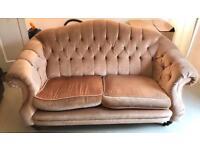 Velvet chesterfield two seater sofa