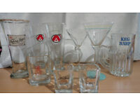 10 Drinking glasses: Stella, Jack Daniels, Harp, Tuborg, Asbach, Tuborg, cocktail + pint