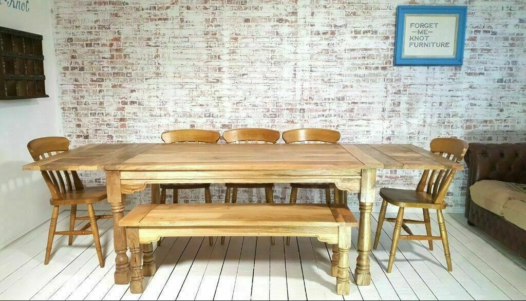 Groovy Farmhouse Extending Rustic Dining Kitchen Table Set With Antique Style Chairs Bench Space Saving In Hale Manchester Gumtree Download Free Architecture Designs Scobabritishbridgeorg
