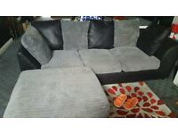 Black and charcoal corner sofa