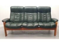 Ekornes stressless Leather 3 seater recliner sofa Green 99201