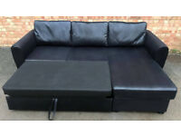 New/Unused Corner Sofa Bed with Storage - Black. Local delivery available