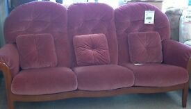 Pink fabric suite comprising sofa and 2 chairs