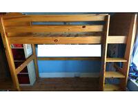 Verona Solid Pine High Sleeper Bed + Silentnight mattress