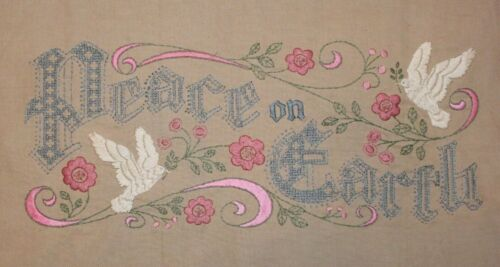 Peace On Earth Doves and Flowers Pink Blue Hand Embroidered Completed Finished