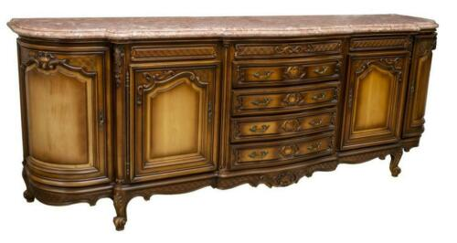 Sideboard, Louis XV Style, Marble Top, Fruitwood, Early 1900s, Gorgeous Piece!