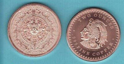 "2 oz. ""AZTEC CALENDAR""  design  Copper Round Coin  CUAUHTEMOC"