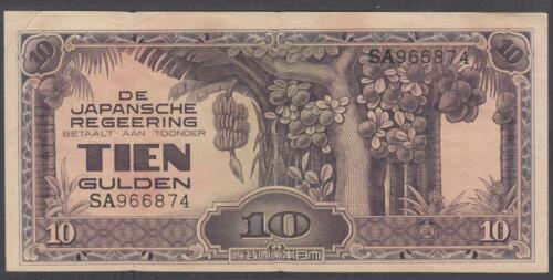 Netherlands Indies JIM 10 Gulden Banknote P-125a ND 1942
