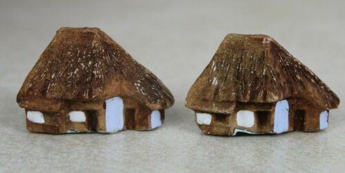 Japanese Bonsai BONKEI Miniature 2 SMALL HOUSES Landscape Accessory
