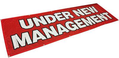 Under New Management Banner Sign Vinyl Alternative 3x10 Ft - Fabric Rb