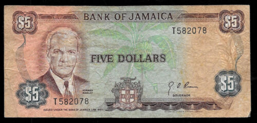 World Paper Money - Jamaica $5 Dollars ND 1970 P56 @ VG-Fine