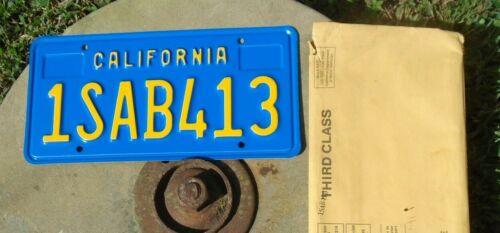 California NOS 1970 Base License Plate # 1SAB413 w envelope never used