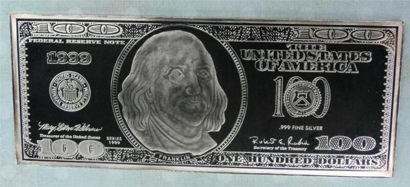 4 Oz 100 Bill Silver Bar Ebay