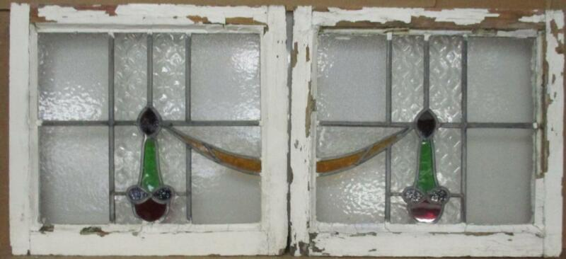 """PAIR OF OLD ENGLISH STAINED GLASS WINDOWS Pretty Sweep & Drops 20.75"""" x 19"""" each"""