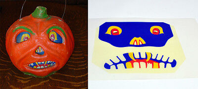 """GLASSINE REPLACEMENT FACE FOR THE """"FANGED JOL"""" HALLOWEEN PAPER MACHE LANTERN #N"""