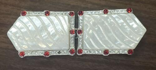 OLD Metal PEARL RUBY & Diamond RHINESTONE COSTUME Art Deco BELT BUCKLES WoW