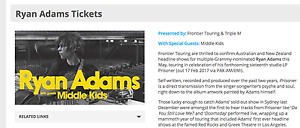 Below cost 2 x Ryan Adams Melbourne - Reserved seating Fri 26th Yarraville Maribyrnong Area Preview