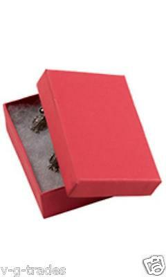 Lot Of 20 Solid Red Print Cotton Filled Jewelry Gift Boxes 2 12 X 1 12 Box