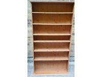 Pine coloured 7 shelf bookcase