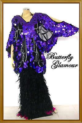 purple Sequin Drag Queen butterfly Halloween GLAM dress