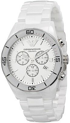 NEW EMPORIO ARMANI AR1424 WHITE CERAMIC WATCH - 2 YEAR WARRANTY