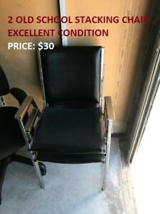 2 Old School Stacking Chair, Excellent Condition, At Cheap!