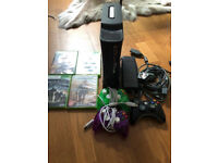 XBOX 360 in black - 120gb, WiFi adapter, 3x controllers and 4x games