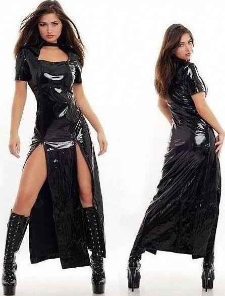 longue robe noir en vinyl 100 pvc brillant avec ouvertures v tement pour femme ebay. Black Bedroom Furniture Sets. Home Design Ideas