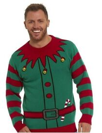 MENS CHRISTMAS NIGHT OUT PARTY JUMPER DAY ELF WITH BELLS BRAND NEW XXL