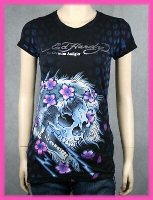 Ed Hardy Beautiful Ghost (Ed Hardy Women's BEAUTIFUL GHOST t-shirt Black NEW)