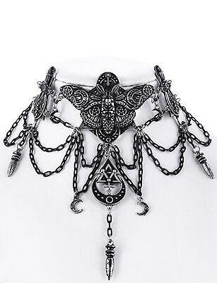 Restyle Silver Moth Choker Gothic Witchy Pentagram Alchemy Occult Necklace