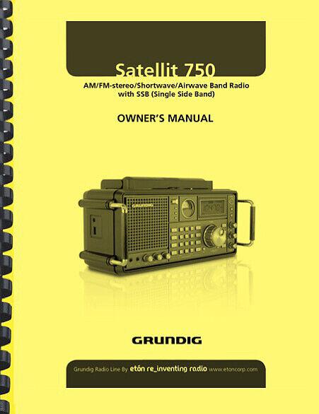 Grundig Satellit 750 Shortwave Radio Receiver OWNER'S MANUAL