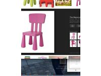 Ikea Kids Chairs - one of each in pink and blue