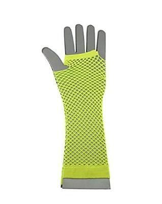 Neon Gelb Fischnetz (Fingerlose Fischnetz Handschuhe Dehnbar Neon Rabe Gelb Lang Netz 80s Jahre)