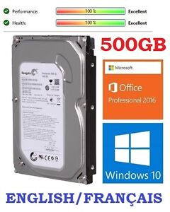 500GB SATA  with Windows 10 Pro and Office 2016: 45$