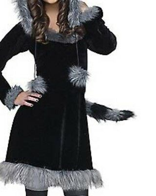 Girls Child Furry Sweet Raccoon Halloween Costume Dress Hoodie S 4-6