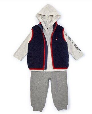 Nautica Toddler  Boys Sherpa Vest, Hooded Tee & Fleece Jogger Set Size 3T 4T NWT