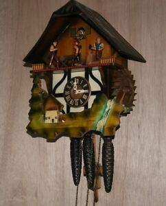 Musical Waterwheel Cuckoo Clock with Moving Figures