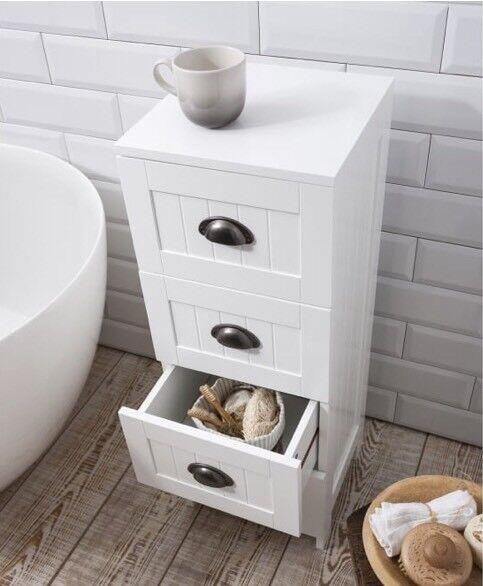 Brand New Noa And Nani Stow 4 Drawer Bathroom Cabinet White X2