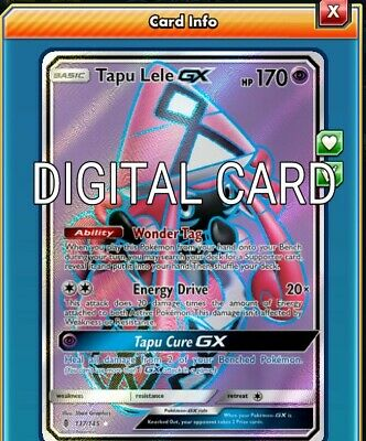 Tapu Lele GX FA FULL ART Pokemon TCG Online PTCGO FAST 137/145 DIGITALCARD
