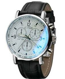 New Mens Faux Leather Blue Ray Glass Quartz Analog Watches Brown Black White