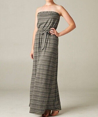 Love stitch striped TUBE TOP  strapless belted maxi casual day dress S M L  (Belted Tube Top)
