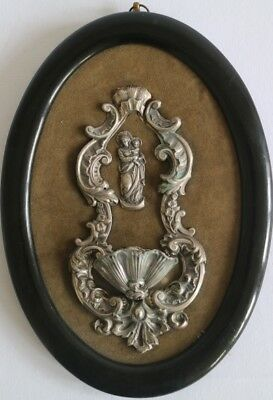 Antique French Silver Holy water font madonna Religious plaque velvet