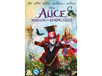Alice through looking glass + Alice in wonderland dvds (NEW sealed)