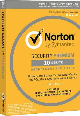 Norton Security Premium | 10 PC / Geräte / 1 Jahr | Download / Key / Internet