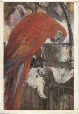 Alte Kunstpostkarte - Adolph von Menzel - Roter Ara und Kakadu