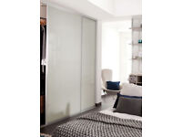 Tall white glass sliding doors by Gap solution