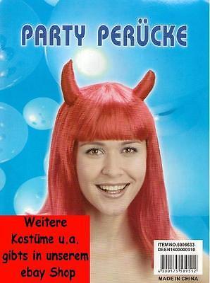 Perücke mit Hörnern Teuflin HexeTeufelsweib Vampirin Fasching Halloween - Kostüm Mit Roten Perücken