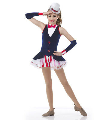 Adult 3XL Yankee Doodle Jazz Tap Dance Costume Ballet 4th of July Patriotic